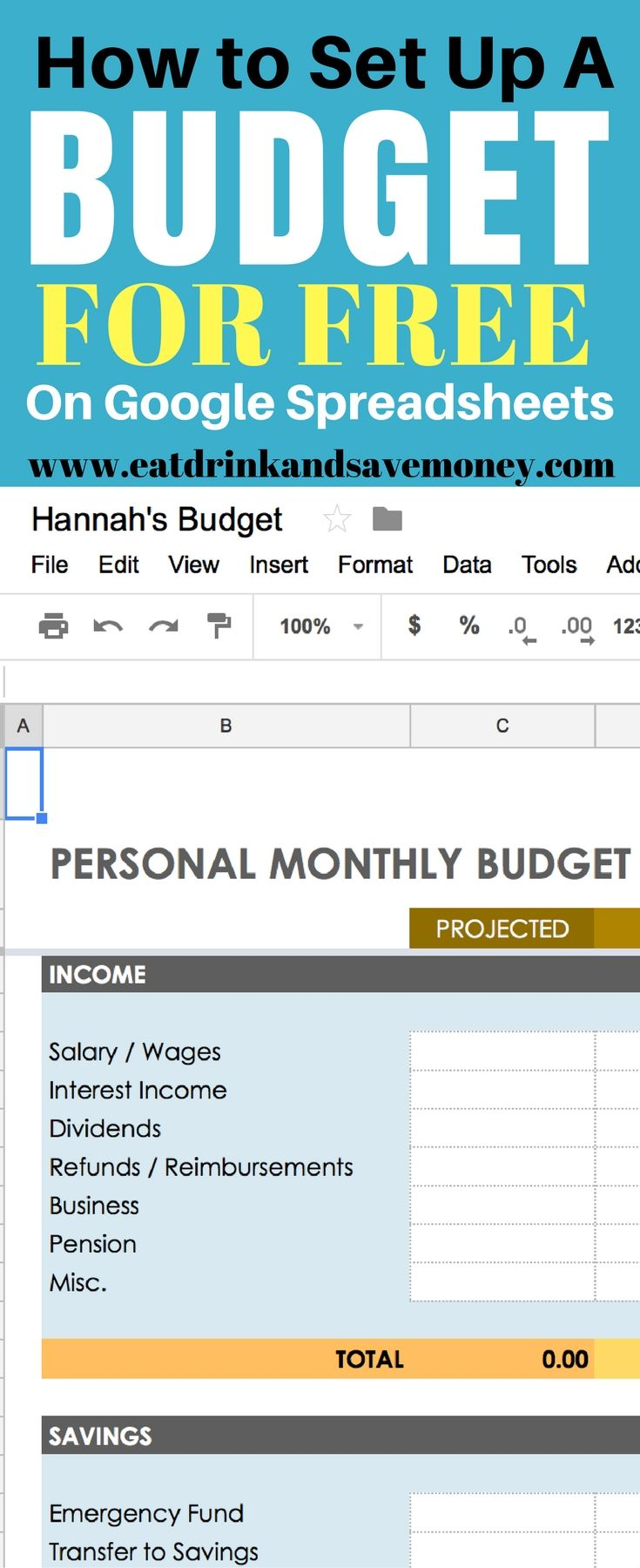 How To Easily Create A Personal Budget In Google Spreadsheets Google Spreadsheet Personal Budget Budgeting