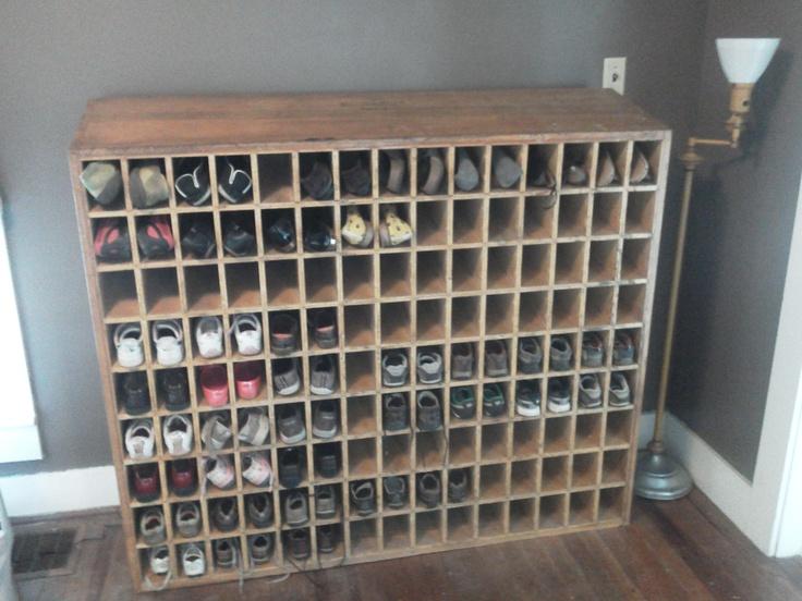 Post Office Wooden Mail Sorter Repurposed As Shoe Shelf