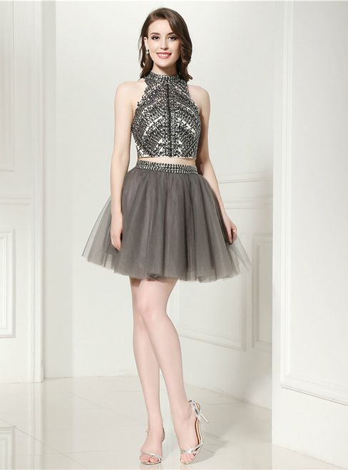d36ea3cb5f Gray Two Piece Halter Backless Tulle Beading Homecoming Dress ...