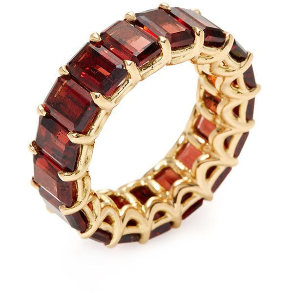 Arazi Eternity Garnet Eternity Band Ring ($2,450) ❤️ liked on Polyvore featuring jewelry, rings, red, garnet ring, red jewelry, red ring, emerald cut ring and wide rings