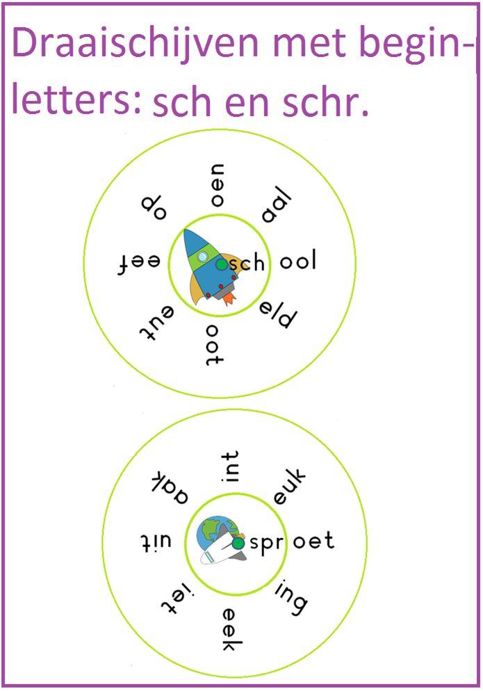Draaischijven met de letters sch en schr. Leuk te gebruiken bij thema 7 van Lijn 3.