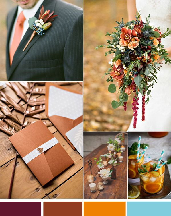 fall wedding colors - Rust Copper Wedding Colors for Autumn Vintage Wedding 2014