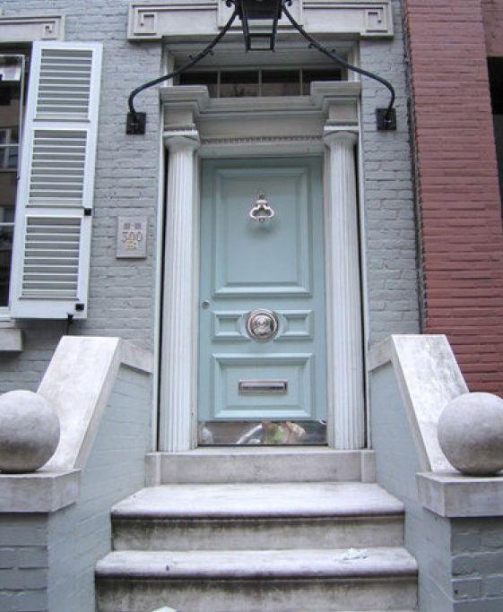pale blue Front Door Color   colored front door: pale blue