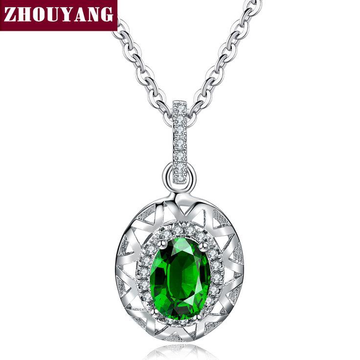 Классический Создания Изумрудное Ожерелье Белый Позолоченные Партии Обручальное Украшения Для Женщин Рождественский Подарок ZYN612 ZHOUYANG(China (Mainland))