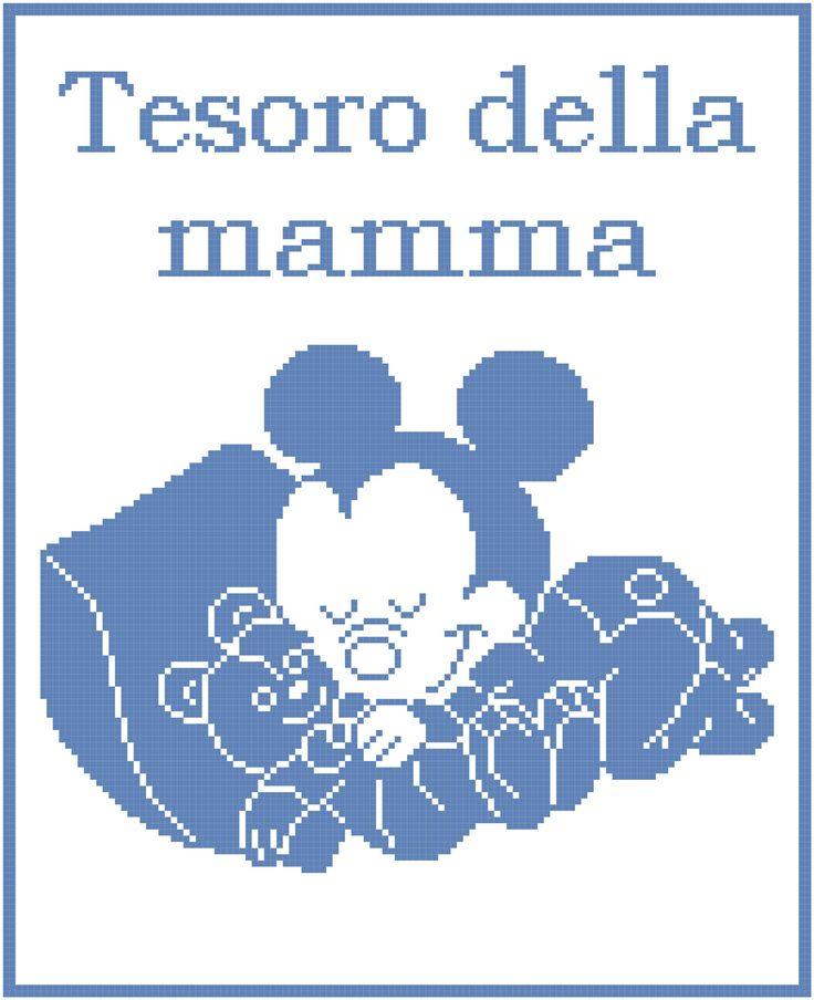 Schema filet uncinetto copertina con baby Topolno che dorme con orsetto
