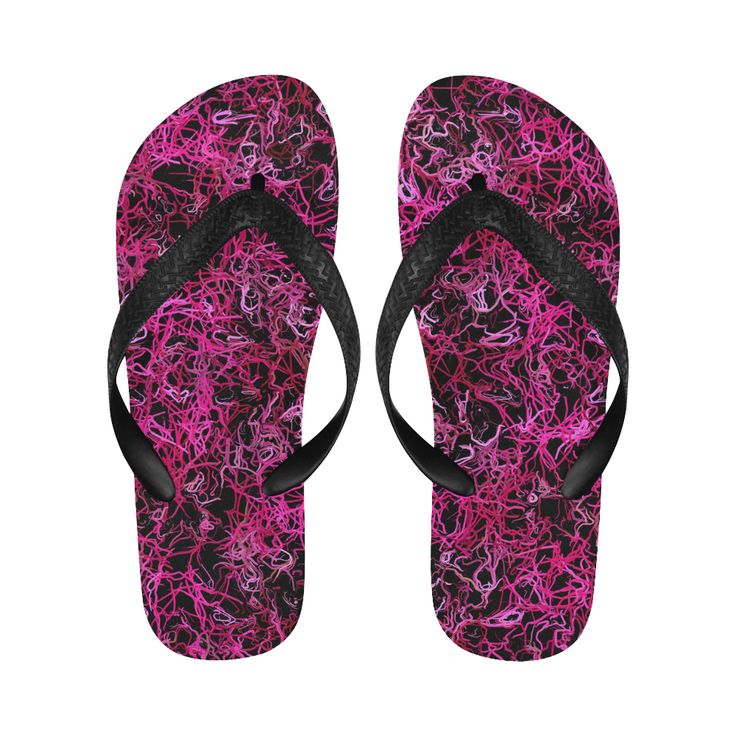 Hot Pink and Black Electric Lines 5078 Flip Flops for Men/Women by Khoncepts