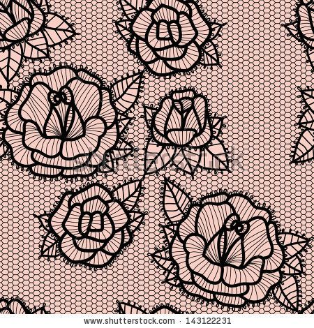 Old lace background, ornamental roses. Vector realistic texture. Seamless pattern. by moopsi, via Shutterstock
