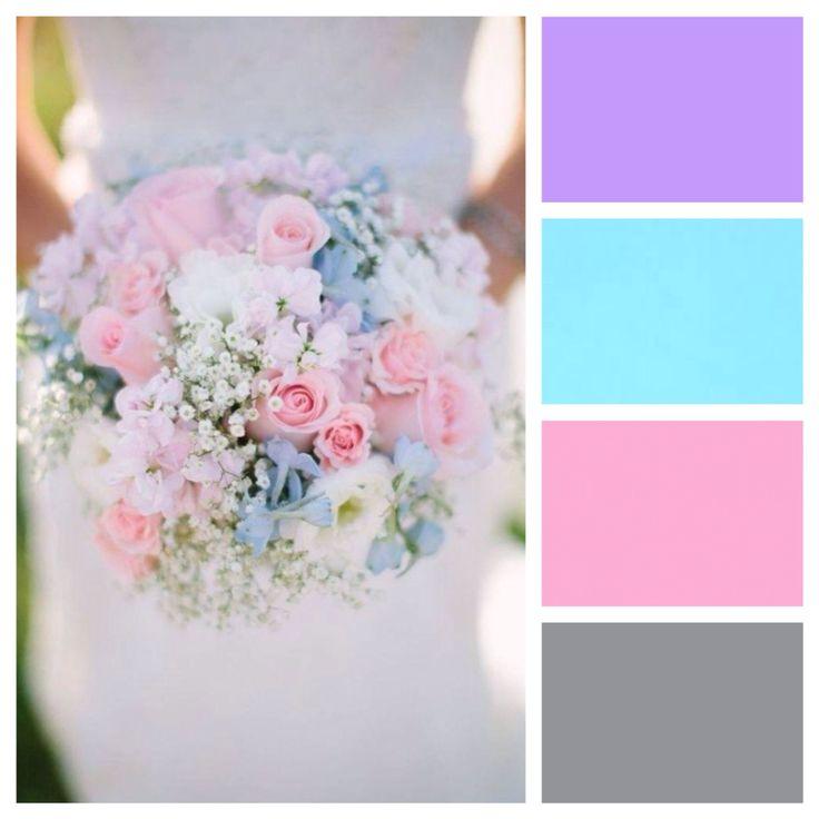 Wedding colors - lavender, aqua, pink, grey. All pastels