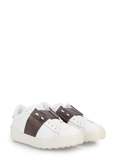 'Open' sneakers in white leather with lateral laminated band by Valentino Garavani.