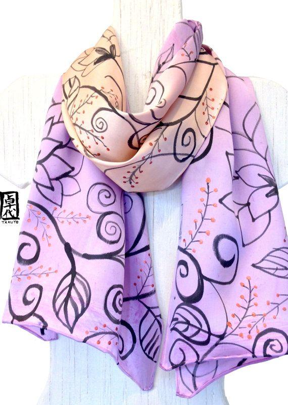 Seta sciarpa dipinta a mano, regali per lei, sciarpa viola, ETSY asap, Ombre…