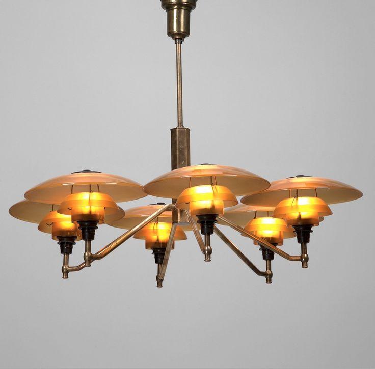 Poul Henningsen; Brass, Glass and Bakelite 'Academy' Ceiling Light for Louis Poulsen, 1930s.