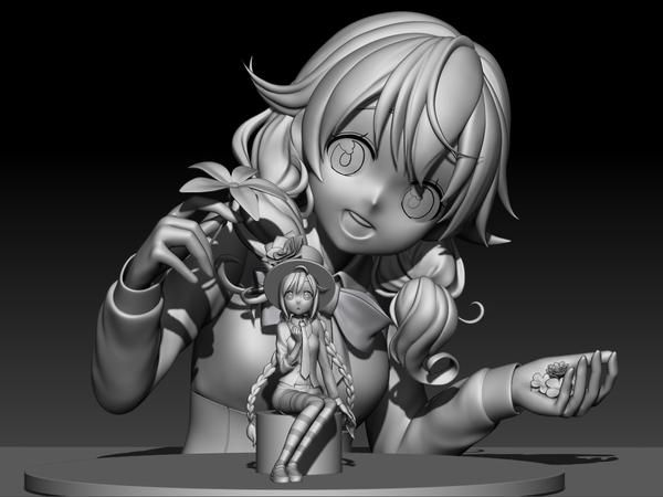 3d anime zbrush girl with dall