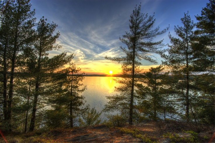 Sunset over Fairy Lake, Huntsville ON. Two lots available for $350,000 each. Call 705-788-4770 for more information