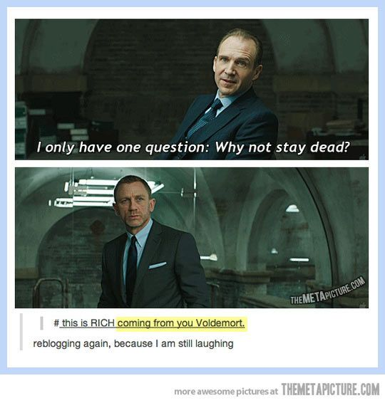 Voldemort questioning Bond's resurrection... and he doesn't like it