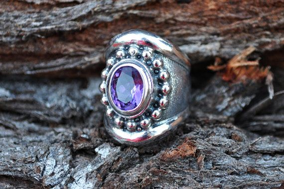 Dazzling chunky silver ring with midnight by SusanRoosJuwele, $235.00