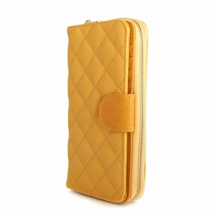 quilted yellow wallet  with many useful sections