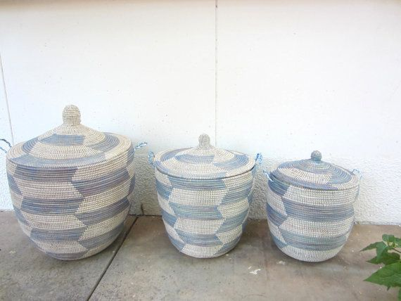 Sky Blue and White Laundry Basket Lidded Laundry by africanbaskets