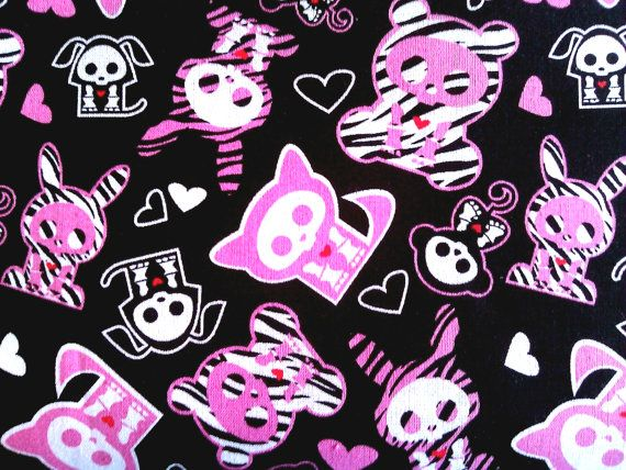 Skelanimal zebra 100 cotton fabric with cats bunnies by JeAdore, $7.50