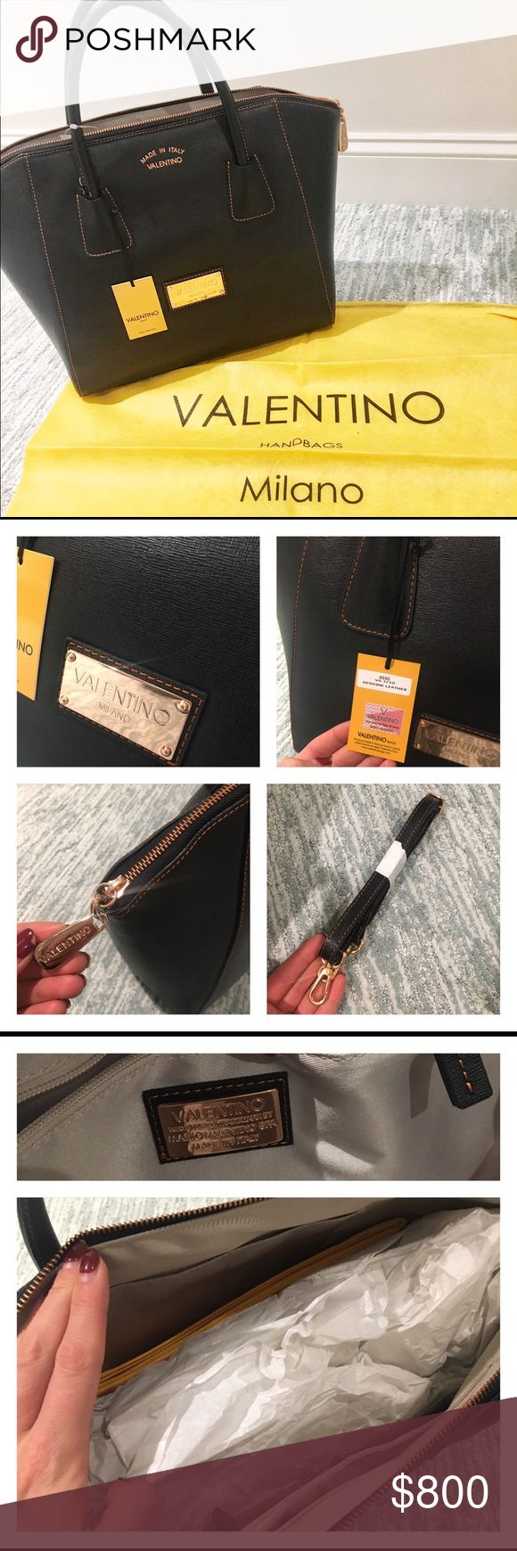 "✨ NWT 100% Authentic Valentino Black GiGi bag ✨ NWT 100% Authentic Valentino Black GiGi bag. Goldstone hardware. Orange/rose gold colored stitching. Gorgeous and spacious! Double top handles 4"" drop. Removable, adjustable cross body strap (25"" drop). One inside zip pocket. 2 non-zip inside pockets.   18"" W x 13"" H x 8"" D. Comes with dustbag. Reasonable offer accepted! Valentino Bags Totes"