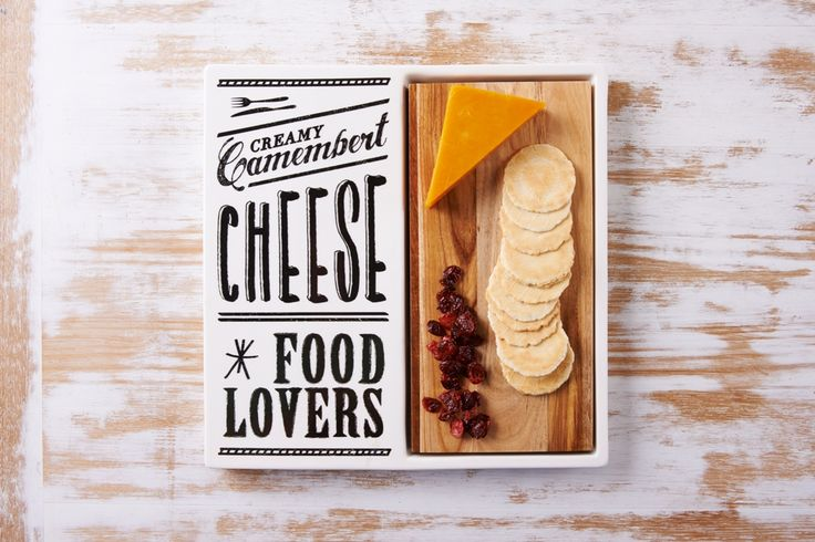 Salles Des Fromage Cheese Square Platter with Timber
