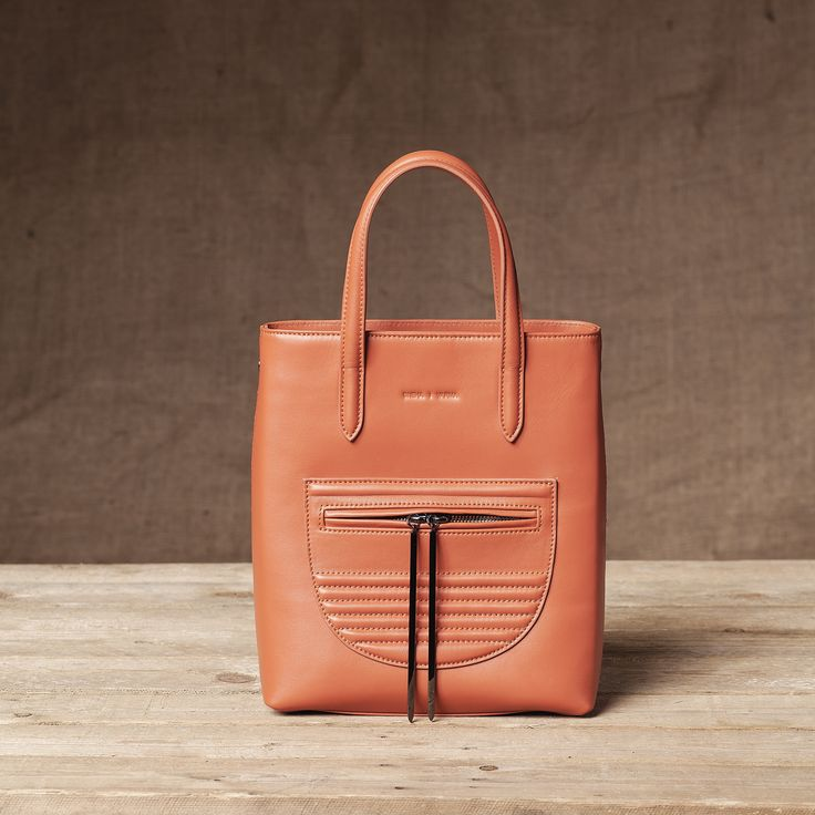 Monaco Mini Shopper in Pumpkin - Front View #Mini #Shopper #Handbag #Pumpkin #Leather #FW15