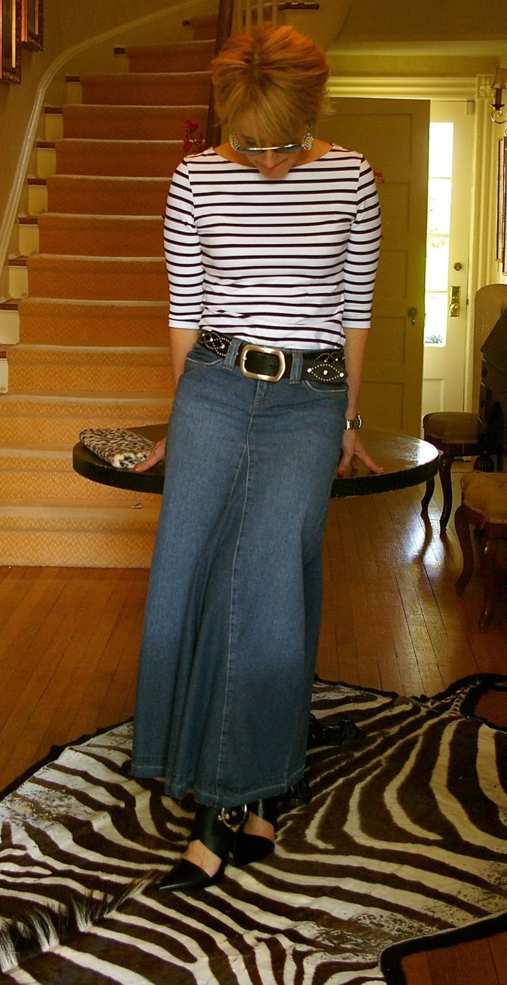 In love with this jean skirt!!! Style Nudge - Stripes
