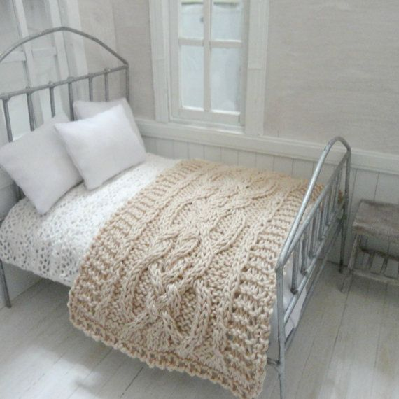 Knit miniature afghan with cables in beige for dollhouse by MiniGio