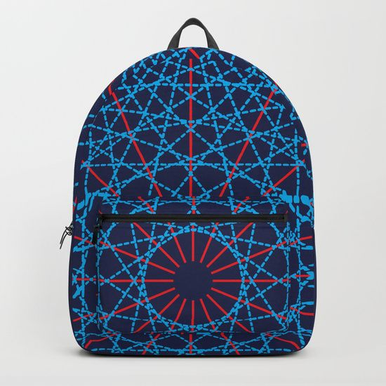 "Geometric Circle Blue/Red Backpack by Fimbis   ________________________ Our Backpacks are crafted with spun poly fabric for durability and high print quality. Thoughtful details include double zipper enclosures, padded nylon back and bottom, interior laptop pocket (fits up to 15""), adjustable shoulder straps and front pocket for accessories. Dry clean or spot clean only. One unisex size: 17.75""(H) x 12.25""(W) x 5.75""(D)."