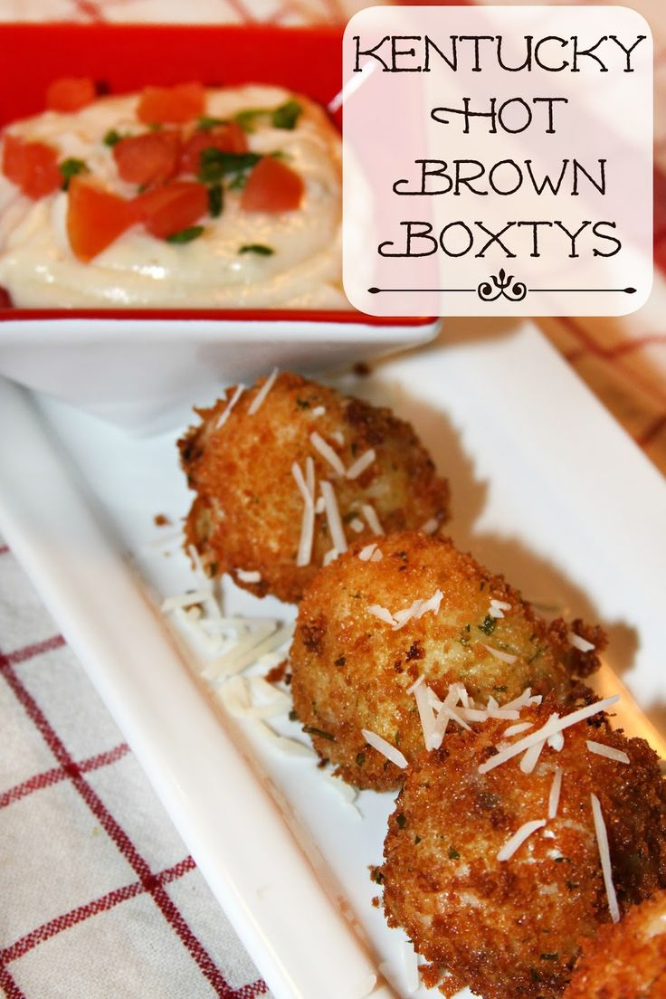 Kentucky Hot Brown Boxtys -Southern inspired fried mashed potato balls.