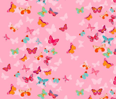 Butterfly Effect in pink fabric by simply_colours on Spoonflower - custom fabric