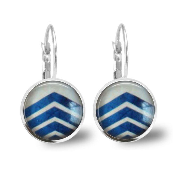 Chatterbox City - Blue Arrow Lever Back Glass Cabochon Earrings, $10.00 (http://www.chatterboxcity.com.au/blue-arrow-lever-back-glass-cabochon-earrings/)