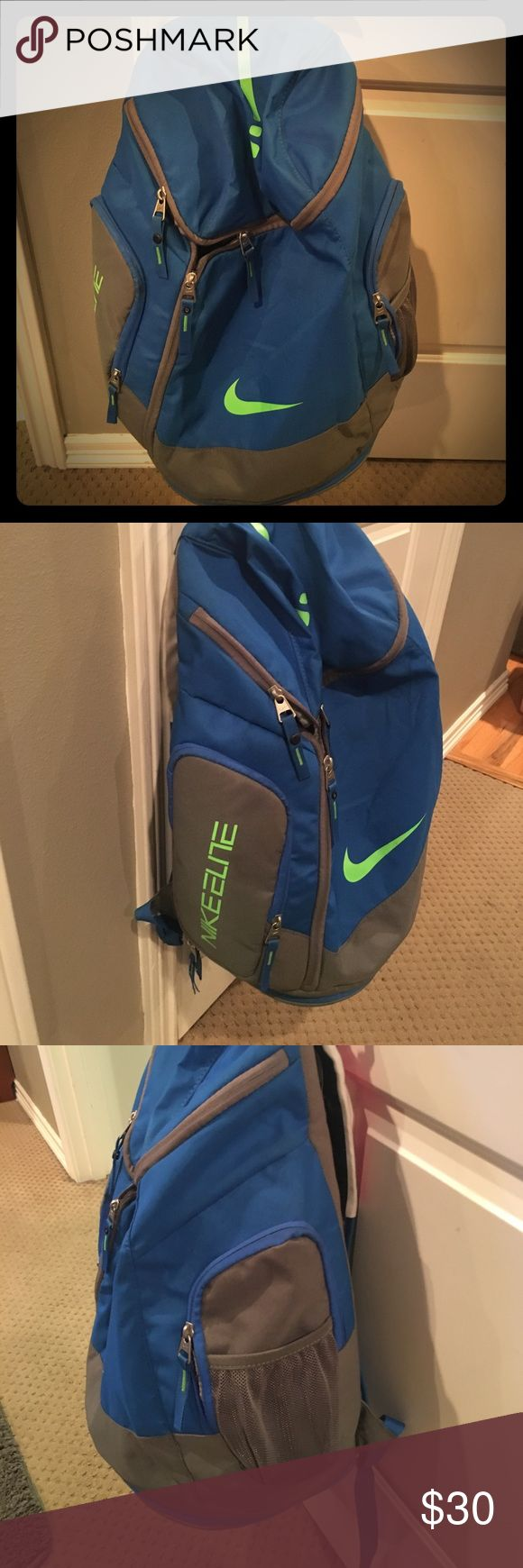 Nike Elite basketball backpack Very lightly used basketball backpack. Team got a matching bag so this was not needed right after we bought. Basketball never stops tag and Always Reppin tag are Velcro add on's and can be taken off. Nike Accessories Bags