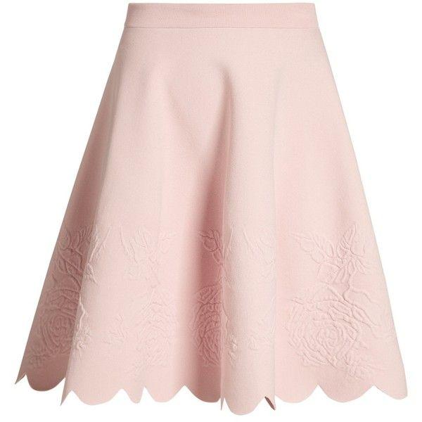 Scalloped-hem matelassé A-line skirt Alexander McQueen... (8067150 PYG) ❤ liked on Polyvore featuring skirts, pink a line skirt, pink scalloped skirt, alexander mcqueen, knee length a line skirt and scallop hem skirt
