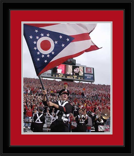 Ohio State Buckeyes Framed Poster Print - Marching Band - Waving Ohio Flag