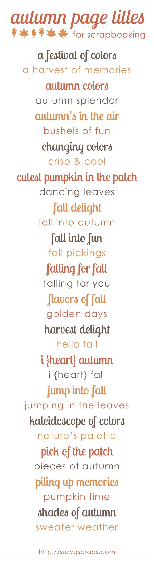 fall scrapbook ideas | fall & autumn scrapbook page titles