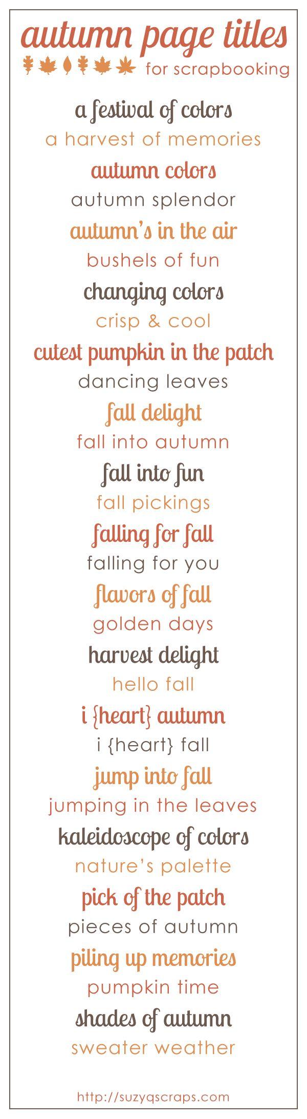 fall scrapbook ideas | fall  autumn scrapbook page titles