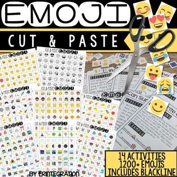 Emoji Cut & Paste - 14 Technology Free Cut & Paste Activities with Emojis Students will love these fun & low prep Emoji activities for writing, reading, math, and more. Students will use the included 1200+ Emojis in color or