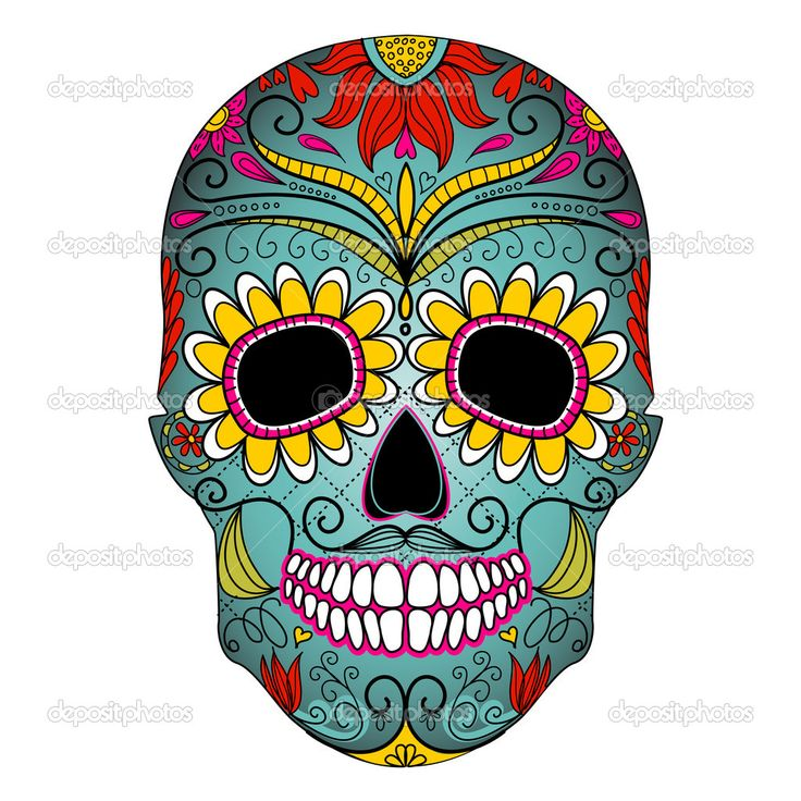 Day Of The Dead Colorful Skull With Floral Ornament Stock Photo