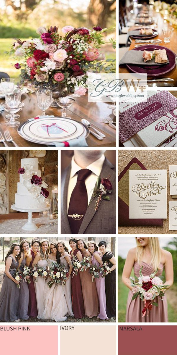 Marsala, blush & ivory wedding