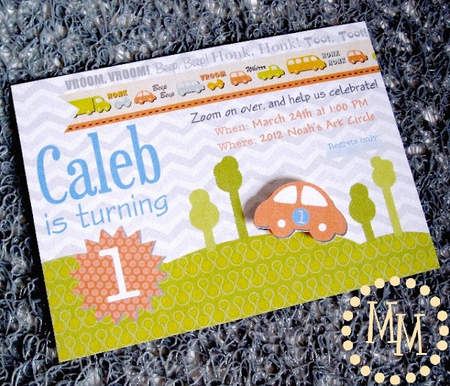 Cars and trucks birthday invitation with a 3D element!