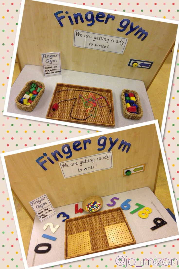 New finger gyms. Threading large beads/cotton reels and pegs boards.