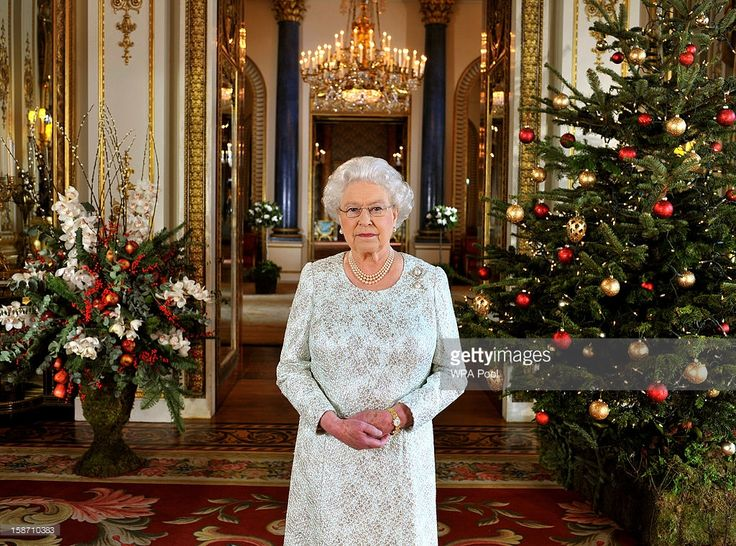 Queen Elizabeth II records her Christmas message to the Commonwealth, in 3D for the first time, in the White Drawing Room at Buckingham Palace on December 7, 2012 in London England. Broadcast on December 25, 2012, the Queen paid tribute in her Christmas speech to Great Britain's Olympic and Paralympic athletes for inspiring the nation during a 'splendid summer of sport'.