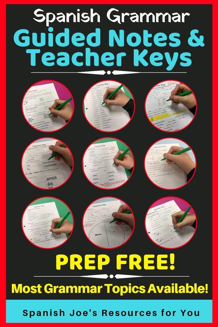 Guided Notes Teacher Key Spanish Definite Indefinite Articles Subject Pronouns Ser Esta Teaching Spanish Middle School Spanish Writing Practice Worksheets