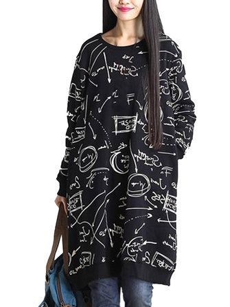 Plus Size Graffiti Printed Graffiti Loose Fleece Long Sleeve Midi Dress