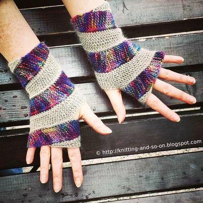 Spiraled Rainbow Fingerless Gloves #free #knitting pattern