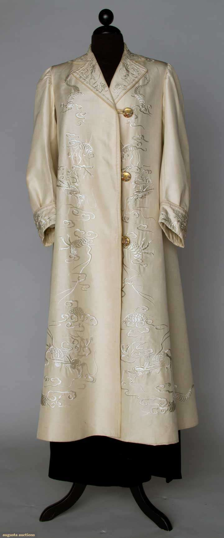 Beige Silk Export Coat, c 1910, dragons embroidered on front & on cuffs, Satsuma buttons, Japanese shop label