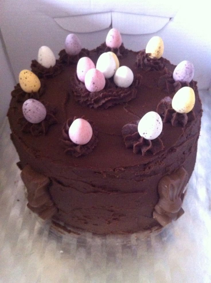 Easter triple layer chocolate gateaux