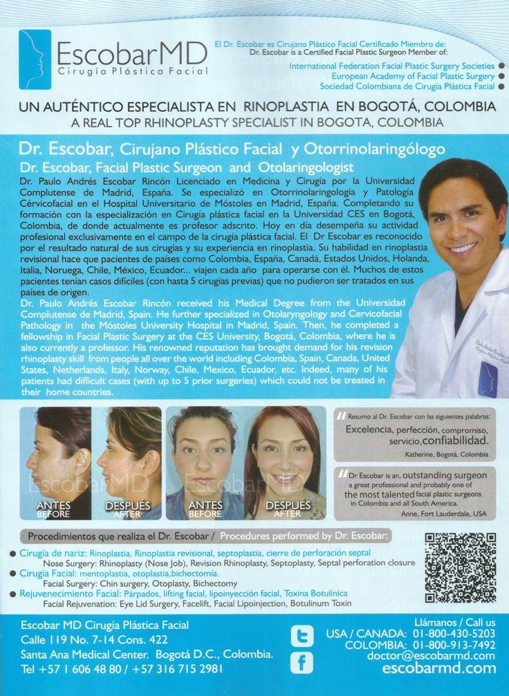 Dr. Escobar : Un auténtico especialista en Rinoplastia / Dr. Escobar : A top specialist in Rhinoplasty --- Publicado en AVIANCA Entretenimiento - Edición 13, junio de 2014 / Published in AVIANCA Entertainment - 13th Edition, June 2014