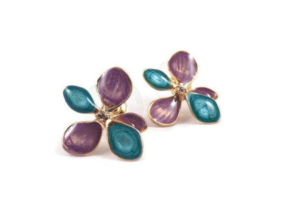 purple gold earrings for women flower gold studs by oBoCreations