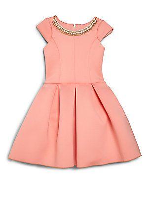 Zoe Girl's Chain-Embellished Neoprene Dress